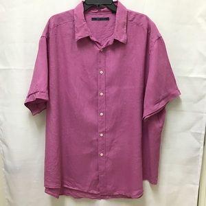 Perry Ellis Linen Button Down Hot Pink Shirt, 2X